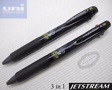 2pcs Uni-ball Jetstream SXE3-400 0.38mm 3 in 1 Multi Ball Point Pen BLACK barrel