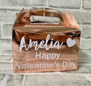 Personalised Valentines Day Gift Box Bag Hamper Present Rose Gold