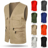 Mens Multi-Pocket Outdoor Vest Fishing Hiking Photography Waistcoat Jacket Coat