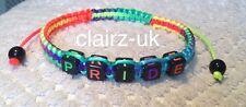 PRIDE lesbian gay bi trans multicolour Shamballa bracelet