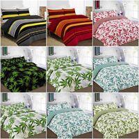 Leaf / Stripe Print Poly Cotton Duvet Quilt Cover with Pillow Case - Bedding Set