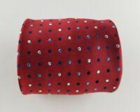Paul Fredrick Mens Tie Red Blue Dots Silk Neck Tie  W3.5'' L58''