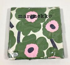 Marimekko Paper Lunch Napkins Unikko Dark Green Pink Flowers 20 Count