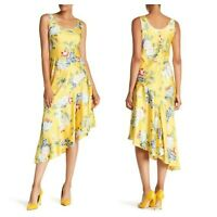 DONNA MORGAN Floral Charmeuse Dress Women's Size 6 NWT Yellow Asymmetric Hem