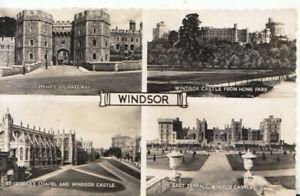 Berkshire Postcard - Views of Windsor Castle - Real Photograph - Ref TZ5938