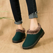 Ladies Faux Wool Slippers Green Red Hard Sole Size Warm Women's Moccasin Shoes