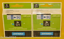 2 (Two) - Genuine DYMO 45014 D1 Label Cassettes Blue / White 1858736 NEW