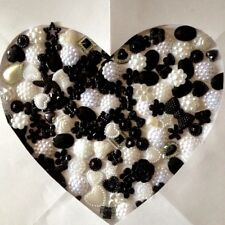 Black & White Mix 60 Flatback Embellishments Card making scrapbooking craft kids