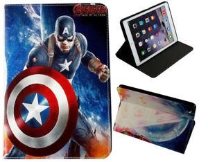 For iPad mini 1 2 3 4 5 Captain America Marvel Comics DC Stand Smart Case Cover