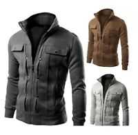 New Sweatshirt Men Cardigan Multi Button Hoodies Fashion Solid Color Tracksuit