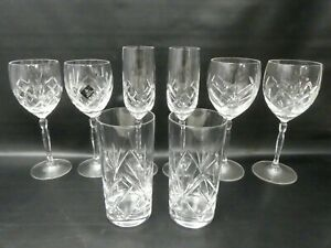 (ref288/CV) 4 Pairs of Royal Doulton Crystal Glasses Wine Flutes Tumblers