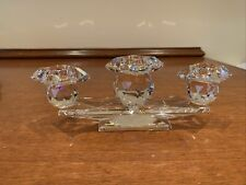 Swarovski Crystal Triple Candleholders Hole Style 2 3/4� High X 7 1/2� Long