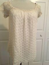 Anthropologie Odille Silk Crochet Sleeve Top Sz M