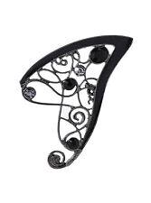 "Blackheart STONE FAIRY EAR CUFF Detail Black & White Stones 3"" Long NEW"