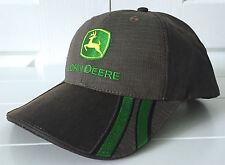 John Deere Brown w Green Accents Coated Herringbone Cap Hat Adjustable