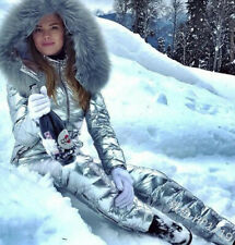 New fashion hooded warm cotton-padded jacket with fur collar jumpsuit ski suit
