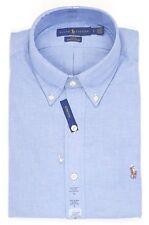 Polo Ralph Lauren Mens Slim Fit Stretch Oxford Shirt White Grey Blue Stripe