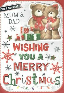 Special MUM AND DAD - Quality Large CHRISTMAS Card Cute Design
