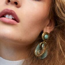 Vintage Retro Women Earring Green Alloy Pendant Geometric Dangle Drop Earrings