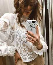 ee85a1ebaf Zara Bloggers Fave Off White Combined Lace Top High Neck Cotton Victorian  Blouse