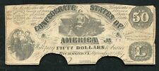 T-14 1861 $50 Fifty Dollars Csa Confederate States Of America Currency Note (B)