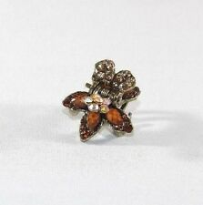 Brand New 3D Double Layer Flower Amber Brown and Clear AB Crystal Hair Clip Claw