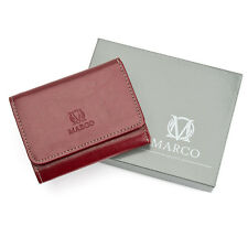 Small Wallet for Lady Natural Leather Mini Purse for Woman Marco PD-21B Maroon