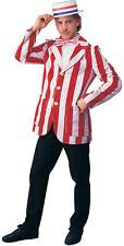 1920's Blazer Men's Red & White Stripe Carnival Barker/ Barber Shop Costume Coat
