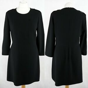 BURBERRY Classic A-line Midi dress SIZE UK 12 Long 3/4 Sleeve Black Round neck
