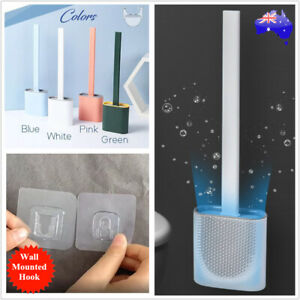 Set Toilet Brush Holder Cleaning Scrubber Silicone Head Cleaner Hook Bathroom AU
