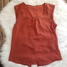 E Hanger M Anthropologie Blouse Orange Rust Sleeveless Back Slit Sz Sm