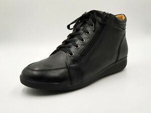 Women's black leather lace up with side zipper work boots