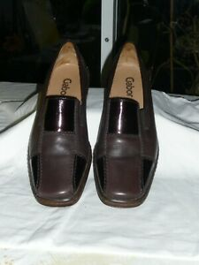 GABOR LADIES FLAT COMFORT SHOES G SIZE 5. DARK BROWN LEATHER & PATENT, SMART.