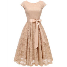 Short Vintage Floral Lace Dress O-Neck Cap Sleeve Belt Bridesmaid Cocktail Dress