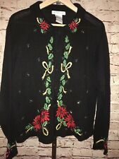 VICTORIA JONES Christmas Beaded Embroidered Holiday Cardigan Sweater Large