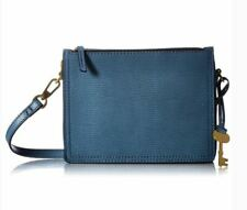 Fossil Campbell Crossbody Textured Leather Bag Faded Indigo