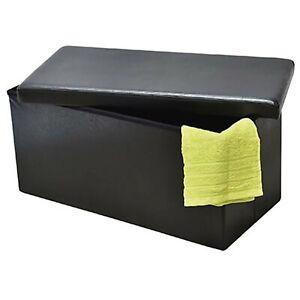 2 in 1 Folding Storage Ottoman Bench Faux Leather Foldable Pouffe Bench