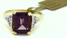 Genuine 2.23 Carat AMETHYST & DIAMONDS 10k Yellow Gold Ring