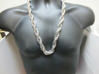 "18KT  WHITE GOLD PLATED HIP HOP 26"" 16MM ROPE CHAIN  BLING NECKLACE"