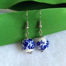 Hot Women's handmade ceramics earrings ethnic New blue and white porcelain drop
