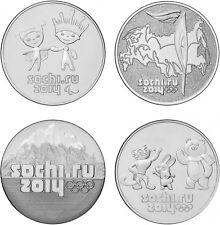✔ Russia 25 rubles Sochi 2014 Full Set 4 pcs UNC