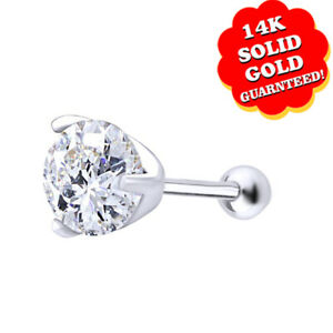 14K Solid White Gold Simulant Diamond Piercing Stud Nose Ring 3mm