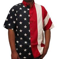 Mens American Flag Half Stars and Half Stripes Woven Shirt