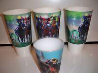 3 KENTUCKY DERBY PLASTIC SOUVENIR CUPS WITH 3D HOLOGRAM HORSE RACING SCENE