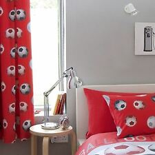"""LINED FOOTBALL CURTAINS CATHERINE LANSFIELD KIDS BEDROOM CURTAINS 66"""" X 72"""""""