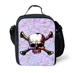FOR U DESIGNS Skull Insulated Lunch Box Lunch Bag Kids Shoulder Cooler Lunchbag