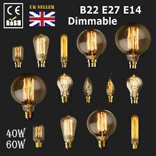 Dimmable E27 E14 B22 40/60W Edison Vintage Filament Candle Globe Light Lamp Bulb