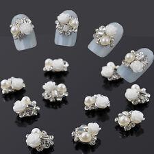 10Pcs 3D Alloy Rhinestone Glitter Rose Charm Nail Art DIY Decoration Jewelry