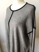 Crew Women's Medium Gray Black Viscose Nylon Merino Wool Sweater Tunic