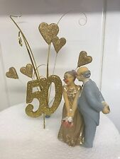 50th  Golden  Anniversary Cake Topper and Figurine Decoration couple